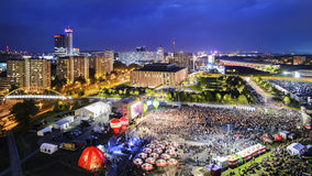 Panorama of Katowice at night during a concert dedicated to the Stock Image
