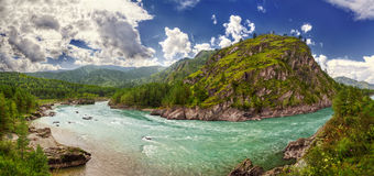 Panorama of Katun river in Chemal Royalty Free Stock Photo