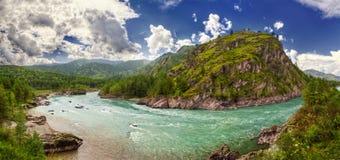 Panorama Katun rzeka w Chemal Zdjęcie Royalty Free