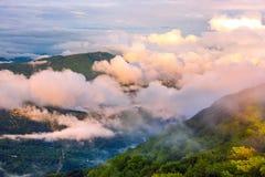 Panorama Kaukaskie góry od obserwaci wierza o obraz royalty free