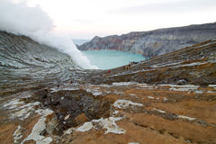 Panorama on Kawah Ijen a volcanic crater. In eastern Java Royalty Free Stock Images