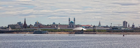 Panorama of the Kazan Kremlin from the Kazanka River Stock Photo