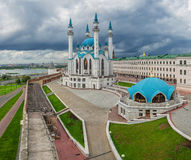Panorama of the Kazan Kremlin. And mosque Kul Sharif Royalty Free Stock Photography
