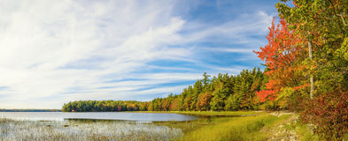Panorama of Kejimkujik lake in fall from Jeremy Bay Campground Stock Photography