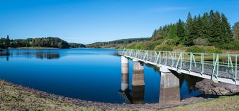 Panorama of Kennick Reservoir in Dartmoor National Park, England, UK, on a bright clear day stock photography