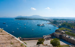 Panorama of Kerkyra as seen from the Old Fortress. Corfu island, Greece. Royalty Free Stock Photos