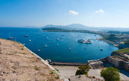Panorama of Kerkyra harbour from the Old Fortress. Corfu island, Greece. Royalty Free Stock Photos