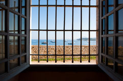 Panorama of Kerkyra harbour from the Old Fortress on the island of Corfu, Greece. Royalty Free Stock Photo
