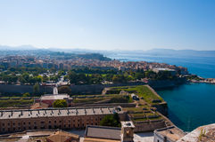 Panorama of  Kerkyra from the Old Fortress. Corfu island in Greece. Stock Images