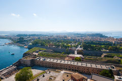 Panorama of  Kerkyra from the Old Fortress. Corfu island, Greece. Royalty Free Stock Photo