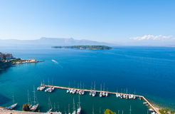 Panorama of Kerkyra port from the Old Fortress. Corfu island, Greece. Royalty Free Stock Images
