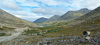 Panorama of Khibiny Mountains with lake Stock Images