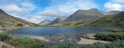 Panorama of Khibiny Mountains with lake, Russia Royalty Free Stock Photos