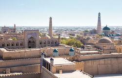Panorama of Khiva. View of the ancient fortress of Ichan Kala from the observation deck. Khiva, Uzbekistan stock images