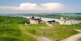 Panorama of Khotyn fortress on Dniester riverside. Ukraine Stock Photography