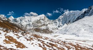 Panorama of the Khumbu valley in Nepal.  Stock Image