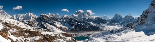 Panorama of the Khumbu valley in Nepal wity Everest and Makalu.  Stock Photography