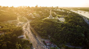 Panorama of Kiev city from the Paton bridge. Aerial view. Royalty Free Stock Photo