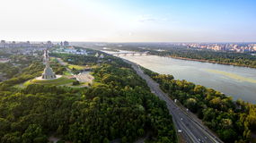 Panorama of Kiev city from the Paton bridge. Aerial view. Royalty Free Stock Images