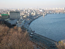 Panorama of Kiev and Dnieper River. Royalty Free Stock Photo