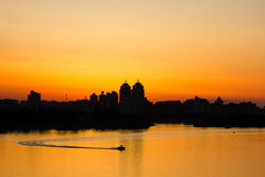 Panorama of Kiev. Landscape of the city of Kiev in the summer Royalty Free Stock Images