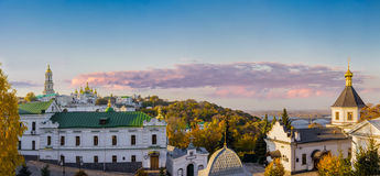 Panorama of Kiev-Pechersk Lavra autumn evening Stock Photo