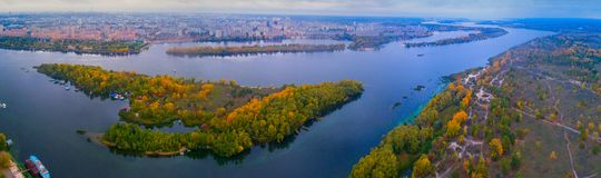 Panorama of Kiev from the quadrocopter. Royalty Free Stock Photo