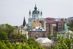 Panorama of Kiev and St. Andrew's Church Royalty Free Stock Photos