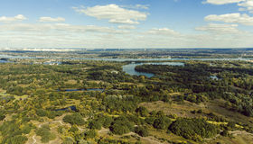 Panorama of Kiev suburb from above. Aerial view. Royalty Free Stock Photo
