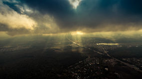 Panorama of Kiev suburb from above. Aerial view. Royalty Free Stock Images