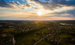 Panorama of Kiev suburb from above. Aerial view. Stock Image