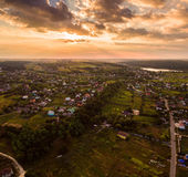 Panorama of Kiev suburb from above. Aerial view. Stock Photo