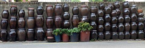 Panorama of kimchi jars. Stock Photos