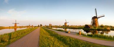 Panorama Kinderdijk Royaltyfria Foton
