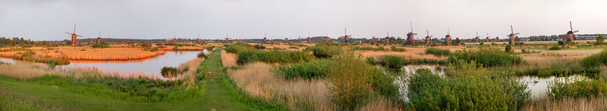 Panorama of Kinderdijk Royalty Free Stock Photos