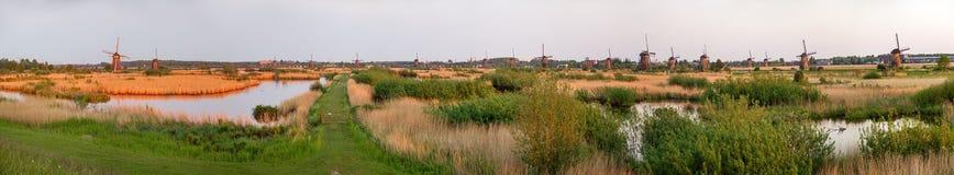 Panorama of Kinderdijk Royalty Free Stock Photos