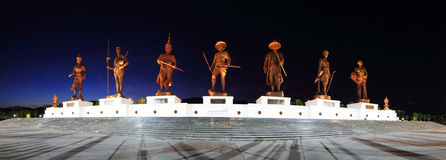 Panorama of 7 king of thailand memorial statue at Ratchaphakdi Park Royalty Free Stock Photo