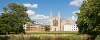 Panorama of King's College in Cambridge Stock Images