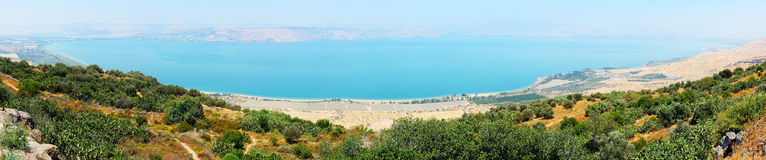 Panorama of Kinneret entirely Stock Photography