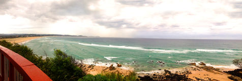 Panorama of Kirra Beach to Tugun and Currumbin. Taken from the top of Kirra Point. Golden sand. Braking waves. Horizon. Famous surf spot in Australia Stock Image