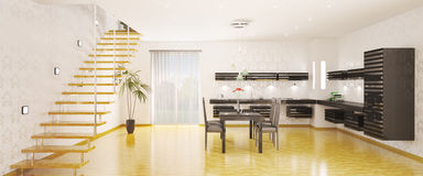 Panorama of kitchen interior 3d render Royalty Free Stock Photo