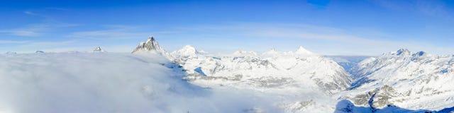 Panorama from kl Matterhorn. With Matterhorn mountain peak and Valley of Zermatt, Switzerland Stock Image