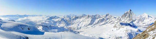 Panorama from kl. Matterhorn Royalty Free Stock Photos