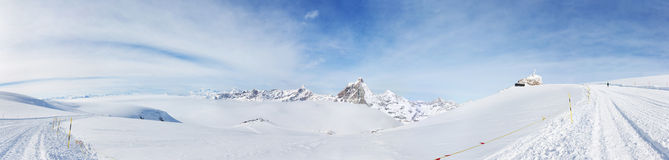 Panorama from Klein Matterhorn: the highest ski slope in Europe Stock Image