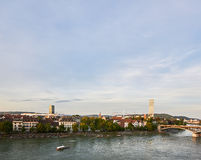 Panorama of Kleinbasel with Rhine, ships and Headquarter Building of Roche Royalty Free Stock Images