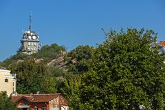 Panorama of Knyaz Alexander I street in city of Plovdiv, Bulgaria Royalty Free Stock Photography