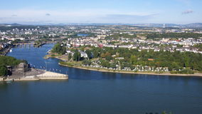 Panorama of Koblenz. Mosel meeting Rhine River in Koblenz Germany Royalty Free Stock Photos