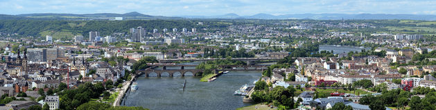 Panorama of Koblenz, Germany. Panorama of Koblenz with bridges over Mosel river, Germany Royalty Free Stock Images
