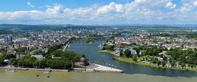 Panorama of Koblenz, Germany. Panorama of Koblenz with German Corner (Deutsches Eck) at the confluence of Rhine and Mosel rivers with equestrian statue of Stock Image