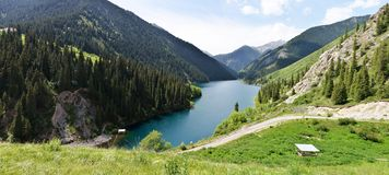 Panorama of Kolsay Lake Royalty Free Stock Images